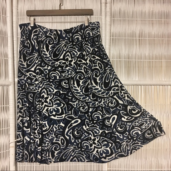 de834b0ef6 Talbots Skirts | Classy Stretch Paisley Navy Blues Print Midi Skirt ...